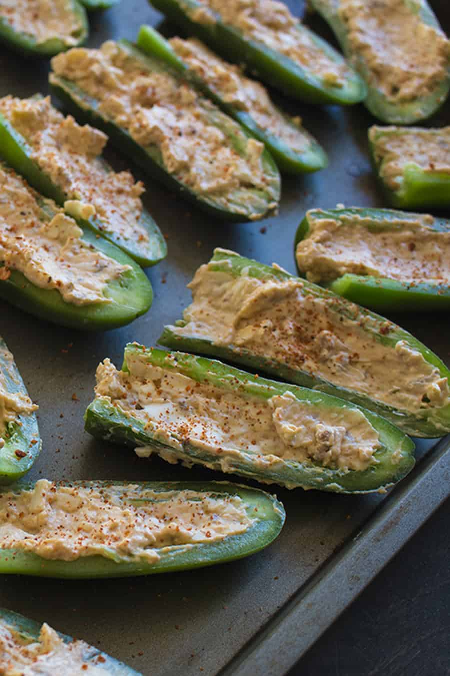 Baked Chili and Cheese Stuffed Jalapeno Poppers