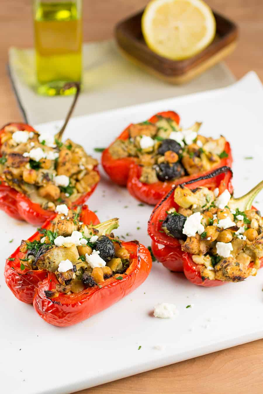 Mediterranean Style Stuffed Peppers, ready to serve