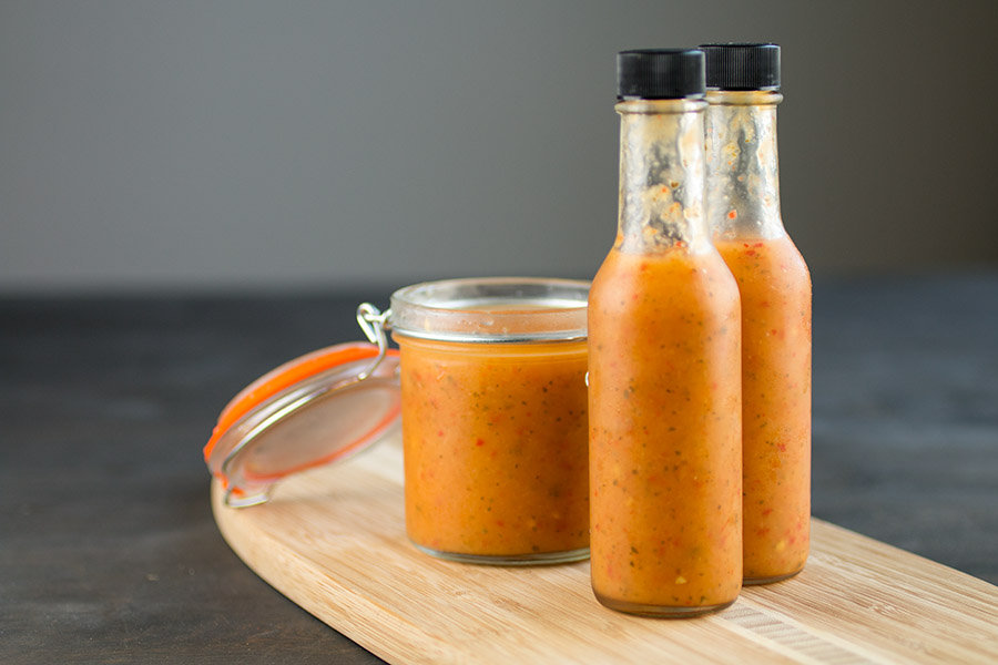 Pineapple-Mango Ghost Pepper Hot Sauce