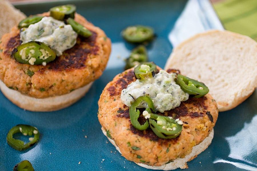 Salmon Patties with Jalapeno-Basil Mayo (Salmon Burgers)