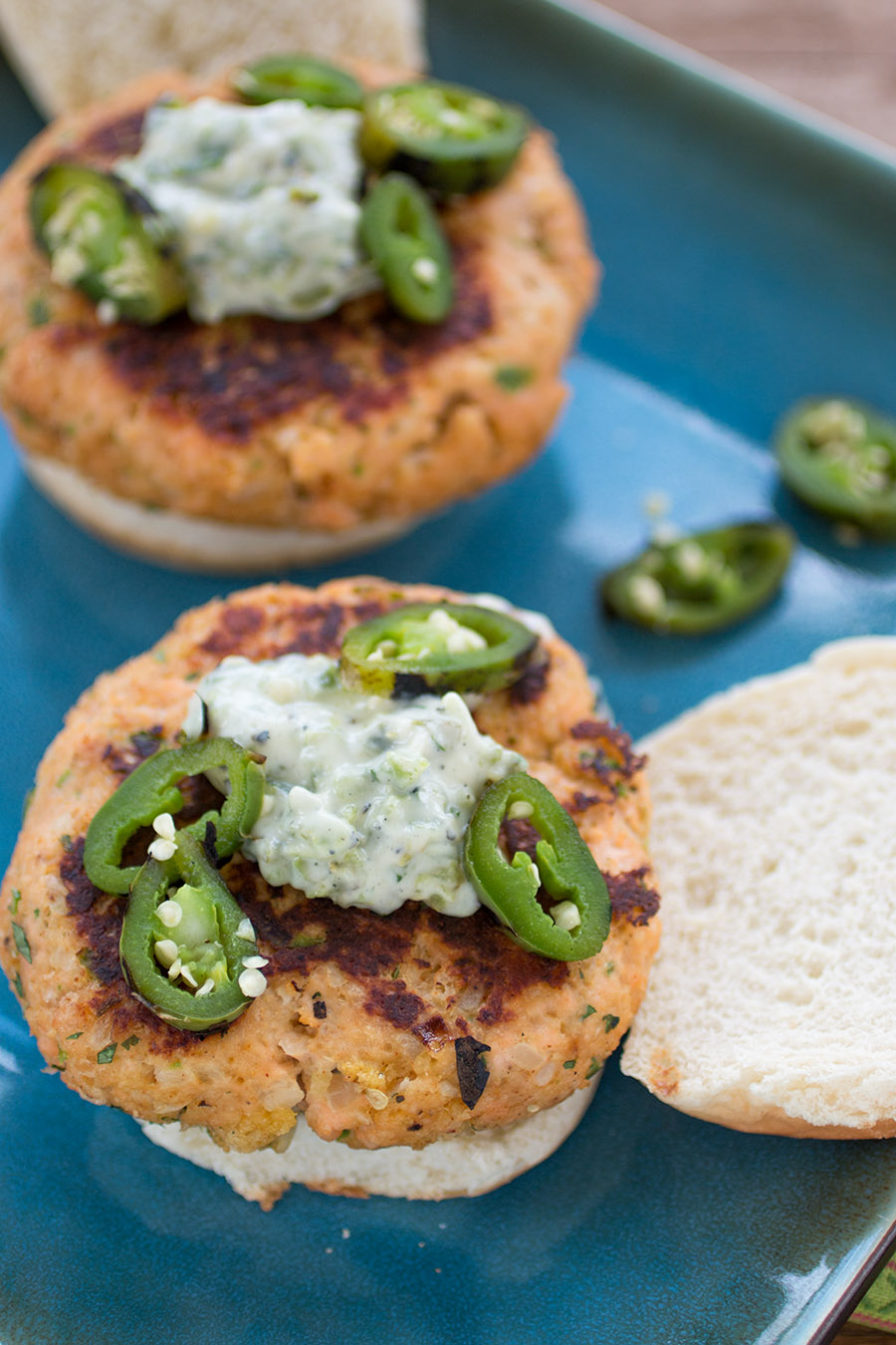 Salmon Patties with Jalapeno-Basil Mayo