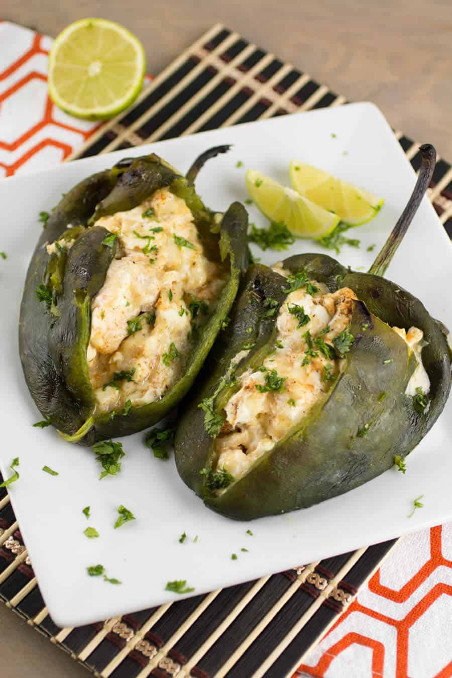 Cream Cheese Stuffed Poblano Peppers