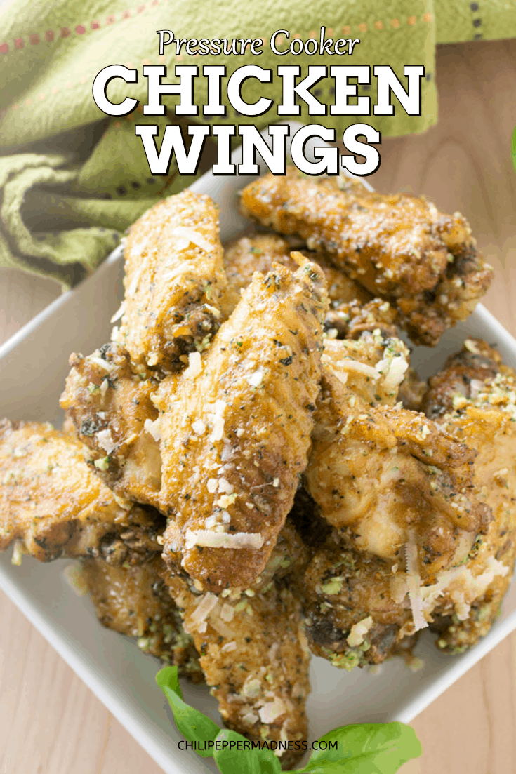 Pressure Cooker Chicken Wings - Use a pressure cooker to make quick, fall-off-the-bone tender chicken wings, then finish them up in the broiler for crispy skin. Here is the recipe. #chickenwings #chicken #gameday