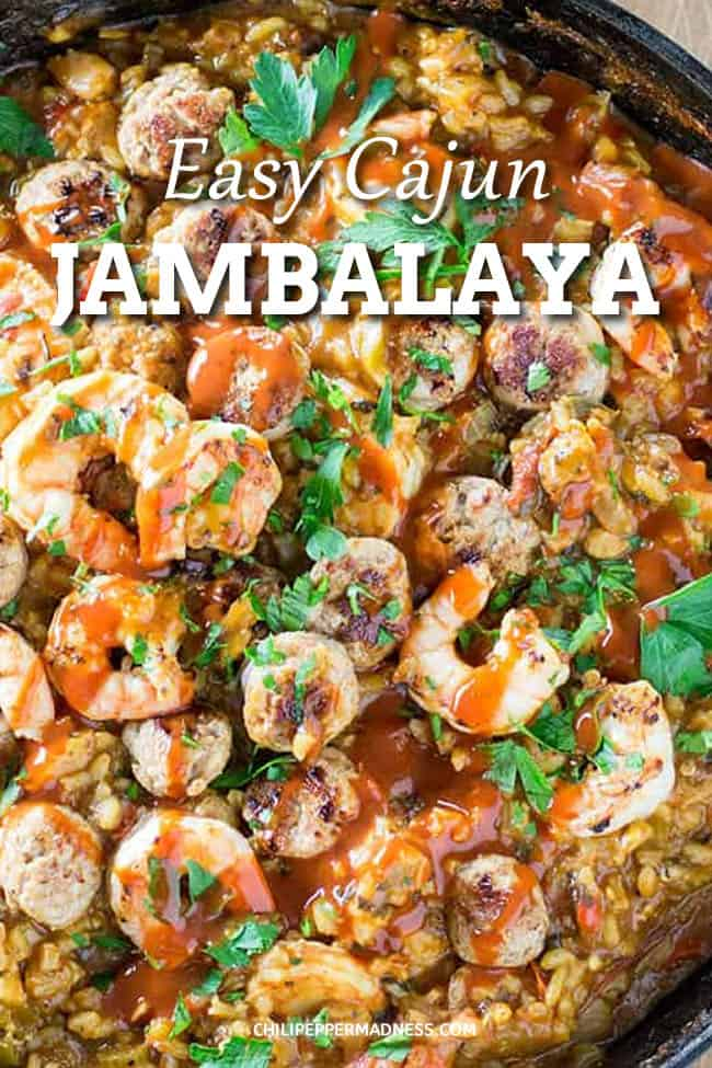 Easy Cajun Jambalaya Recipe - My wonderful spicy Cajun jambalaya recipe in all its glory, with shrimp, andouille sausage, chicken, and plenty of spices. #CajunFood #Jambalaya #SpicyFood