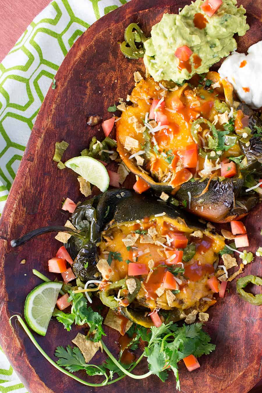 Chicken Nachos Stuffed Poblano Peppers