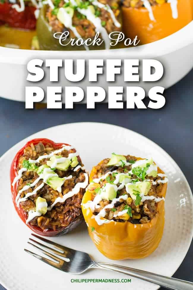 Crock Pot Stuffed Peppers – Mexican Style - A recipe for colorful bell peppers cooked slow in a crock pot or slow cooker, stuffed with Mexican style ingredients including seasoned ground beef, rice, black beans and queso blanco. Super easy. | ChiliPepperMadness.com #StuffedPeppers #Crockpot #SlowCooker #Dinner #DinnerIdeas #SpicyFood