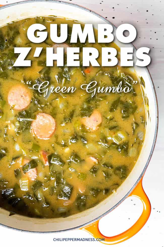 Gumbo Z\'Herbes - Green Gumbo - classic Cajun recipe for green gumbo, aka \