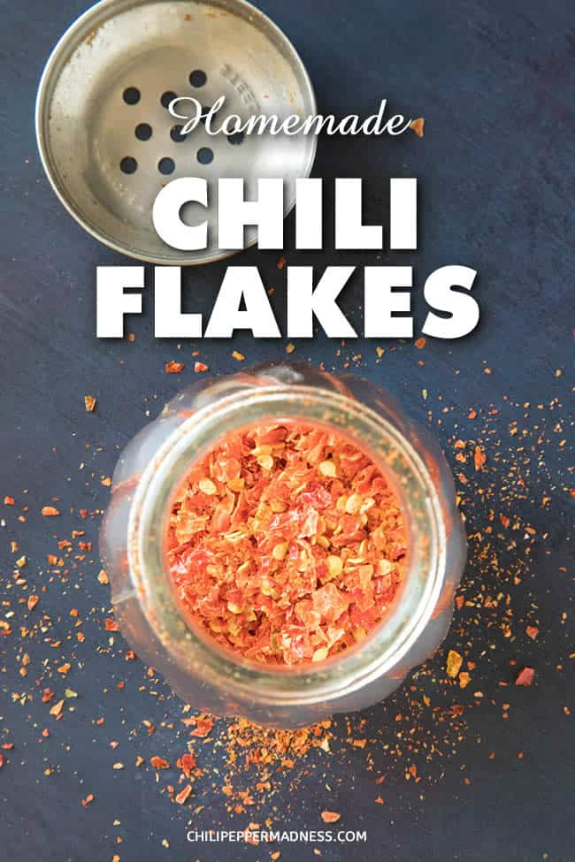 How to Make Homemade Chili Flakes - Use your dehydrator (or oven) to make your own chili flakes at home. They're perfect for dashing over pizza or any other food for a bit of zing and flavor. A great way to preserve your pepper harvest. | ChiliPepperMadness.com #Dehydrator #Seasonings #ChiliFlakes #Spicy