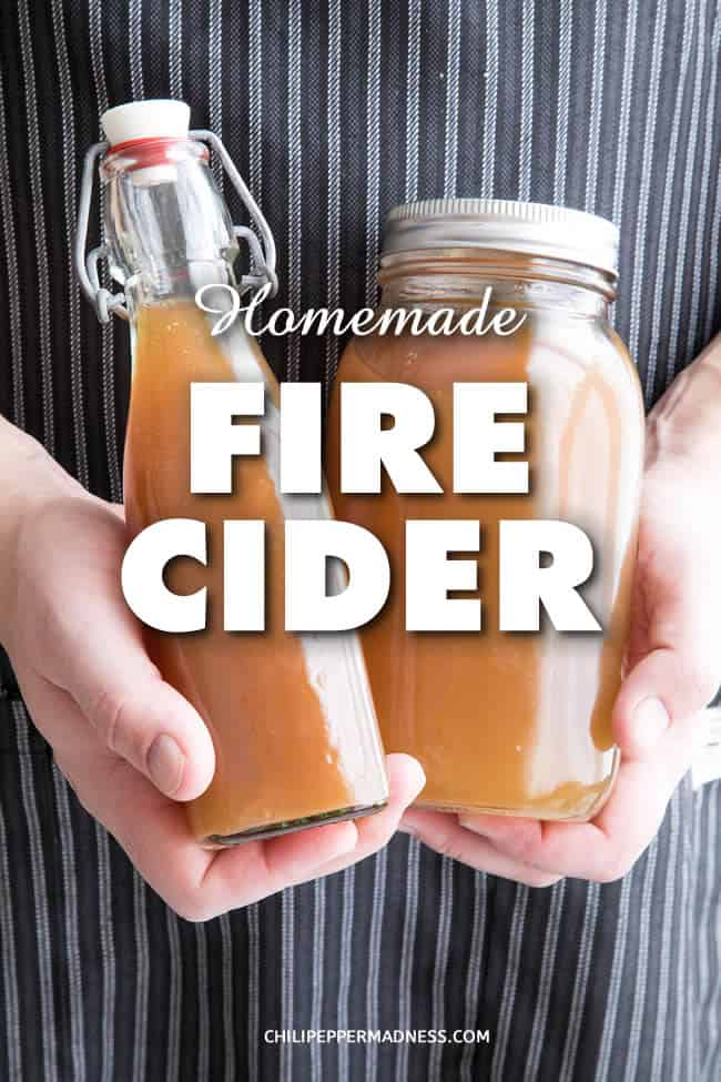 Homemade Fire Cider - Learn how to make your own homemade fire cider, a healthy folk remedy that aids digestion and helps ward off the flu and the common cold, among other health benefits. Here is the recipe. | ChiliPepperMadness.com #FireCider #OldRemedy #FolkRemedy #FolkMedicine #HerbalRemedy