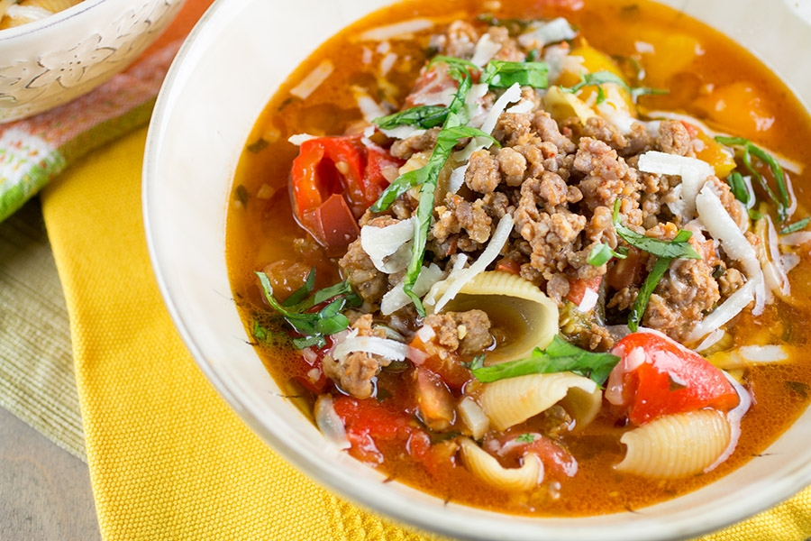 Italian Sausage Soup with Roasted Peppers