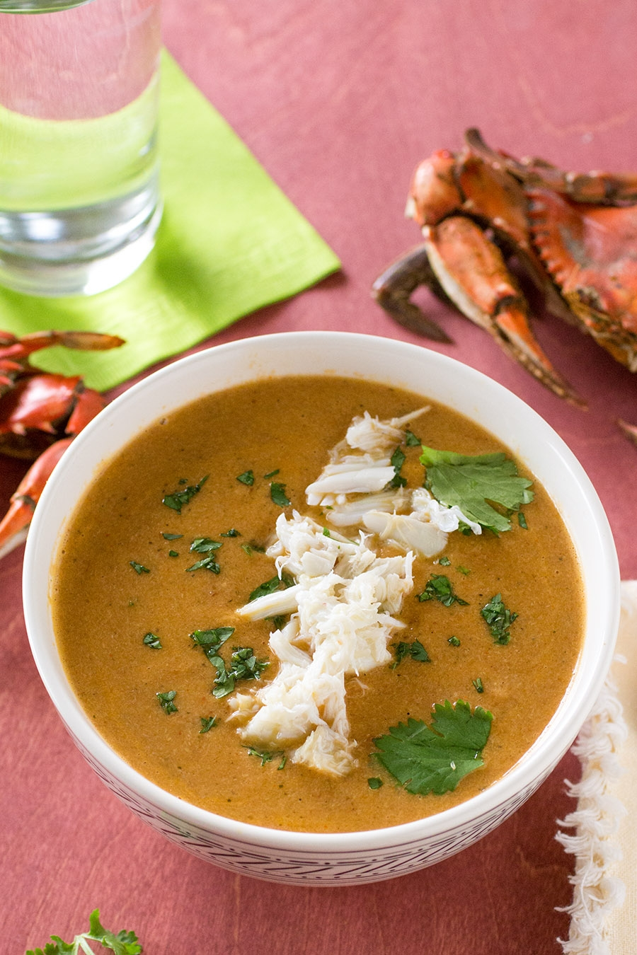 Roasted Red Pepper and Blue Crab Bisque from the Chesapeake Bay