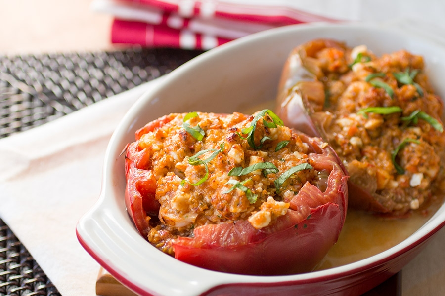 Shrimp and Cheese Stuffed Heirloom Tomatoes