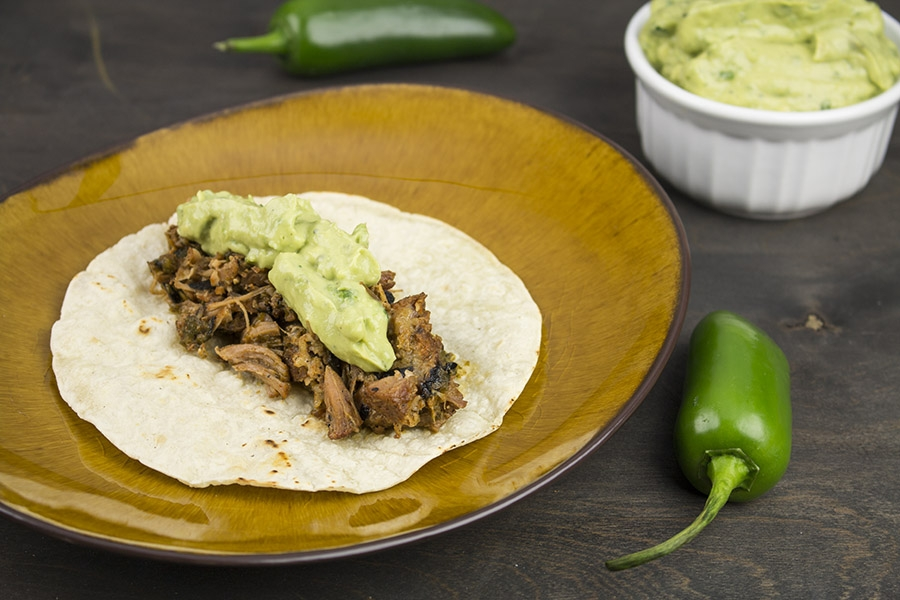 Roasted Poblano Pork Tacos with Creamy Guacamole – Pork Carnitas