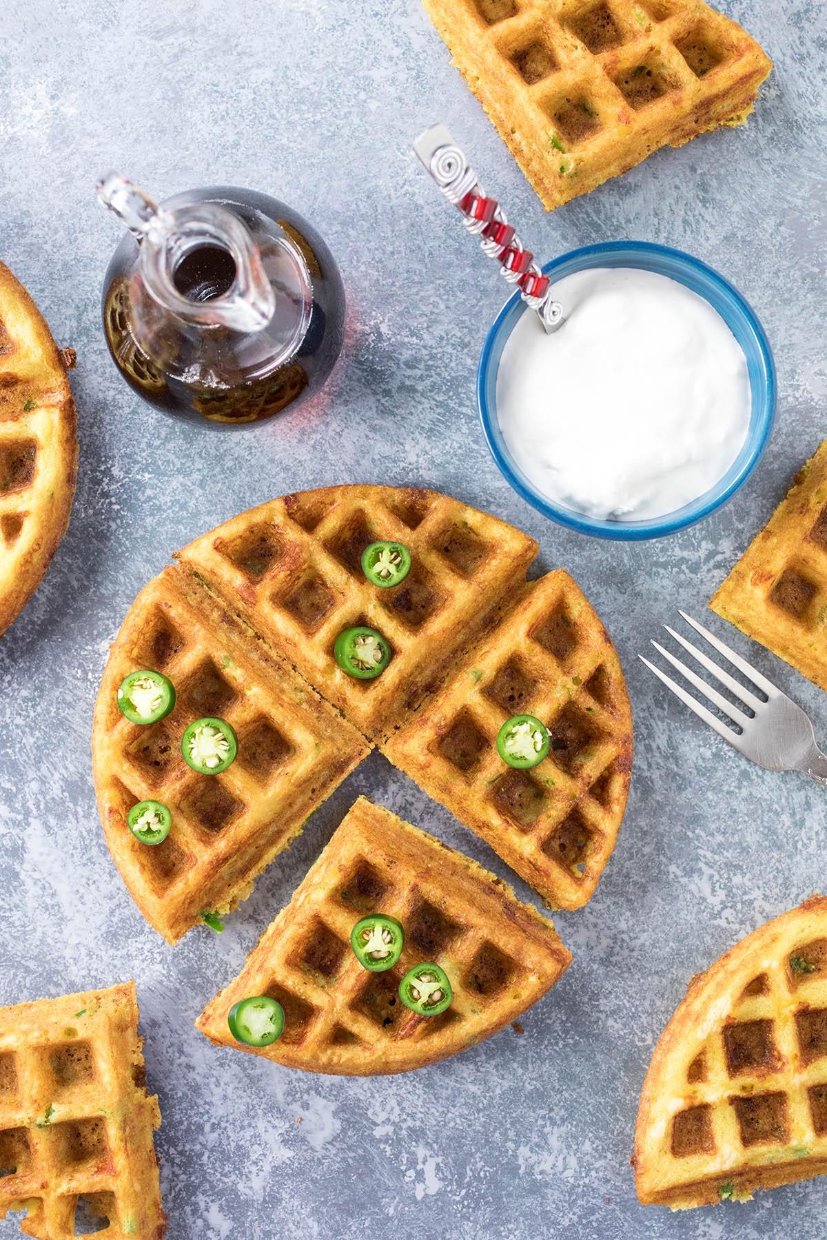 Serrano-Cheddar Waffles