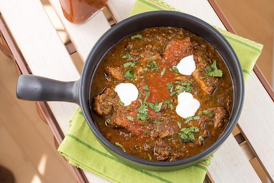 Homemade Roasted Tomatillo-Pork Chili