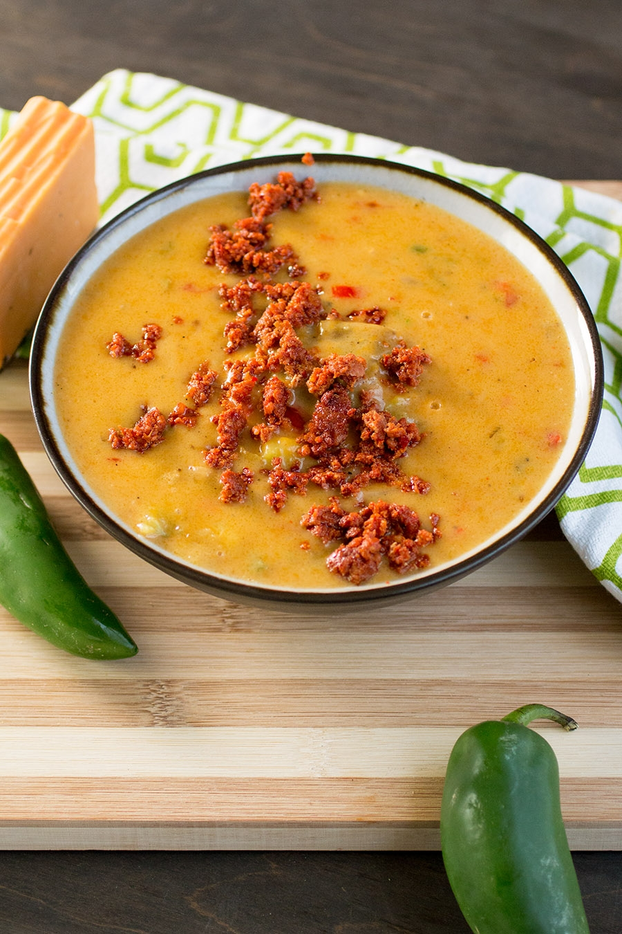 Super Cheesy Beer Cheese Soup with Chorizo