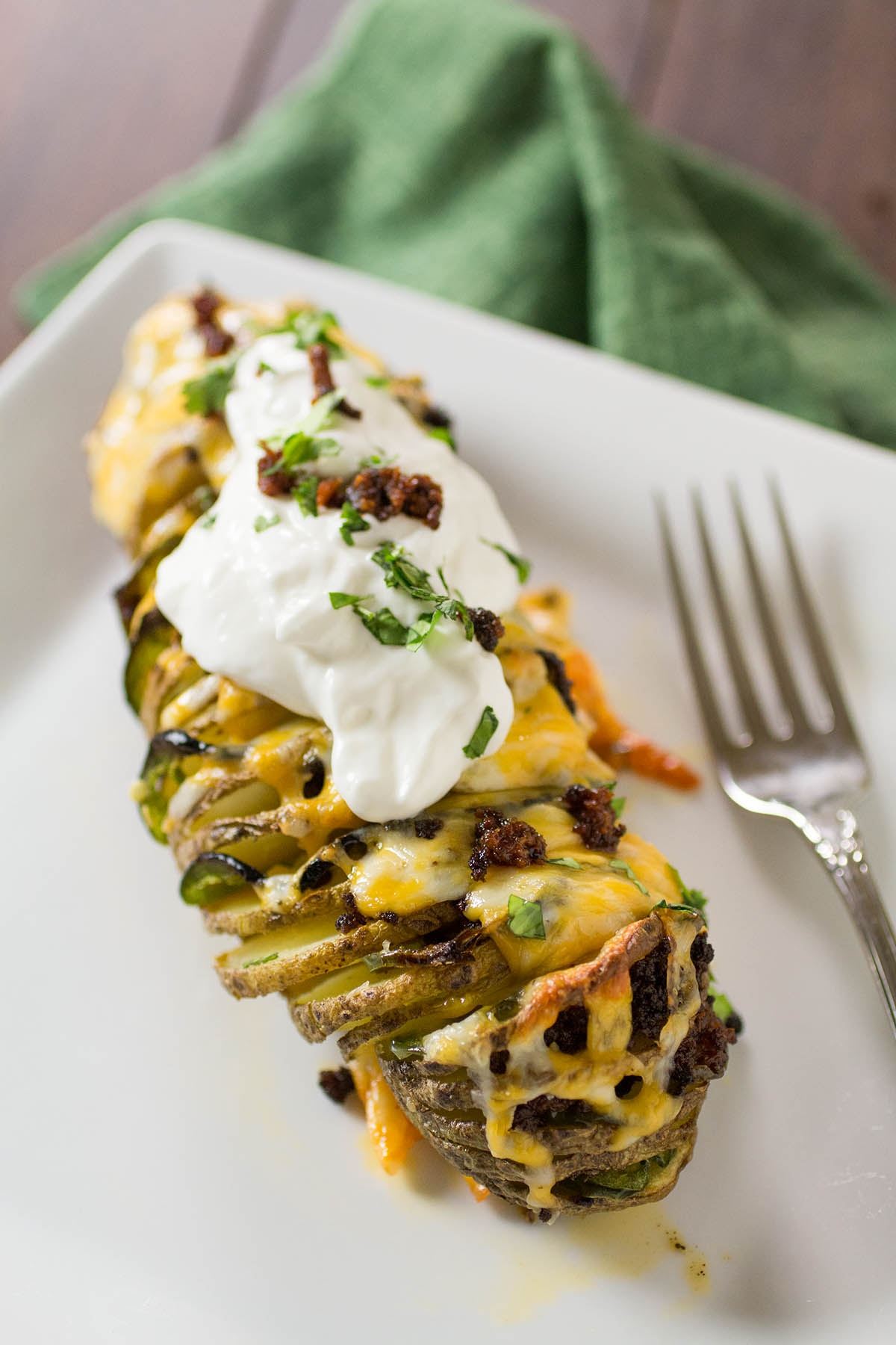 Tex-Mex Hasselback Potatoes with Cheddar and Chorizo