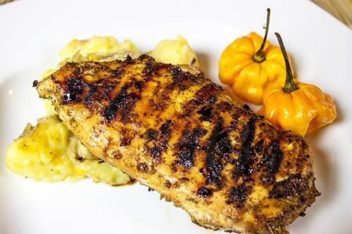 Jamaican Jerk Chicken with Coconut Potato Mash, both with Scotch Bonnet Chili Peppers