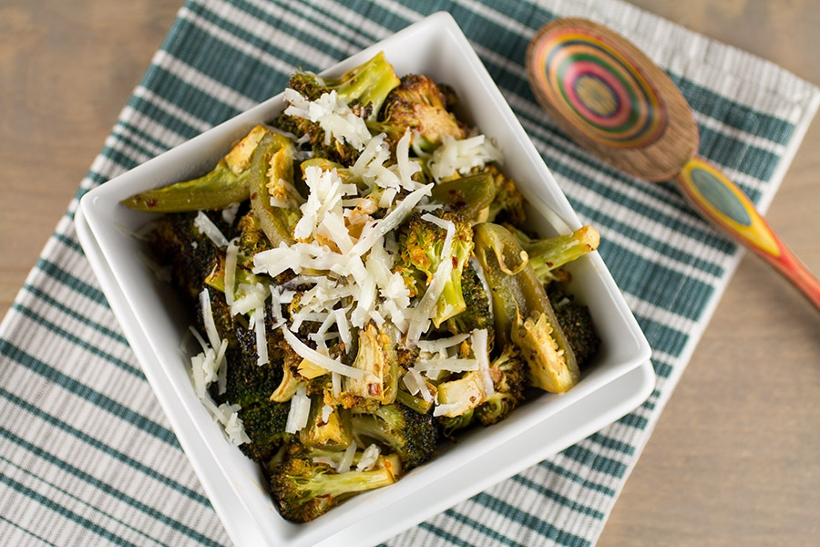 Spicy Roasted Broccoli with Jalapeno Peppers