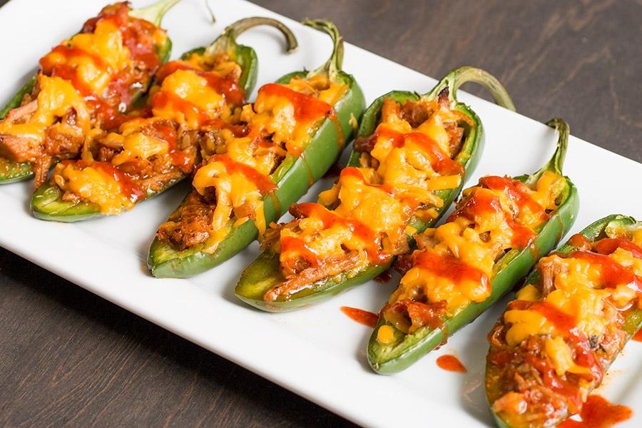 Pulled Pork-Sriracha Jalapeno Poppers