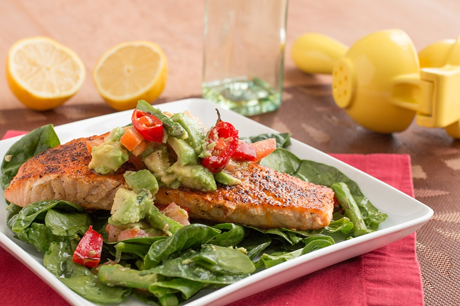 Asparagus-Spinach Salad with Pan Seared Salmon