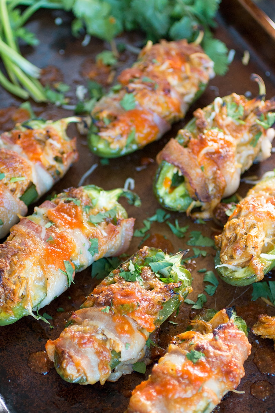 Bacon Wrapped Jalapeno Poppers with Shredded Chicken and Cheese