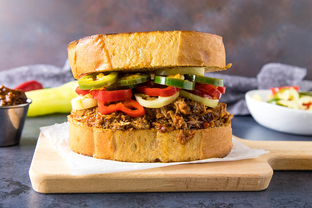 We love our pulled pork around here for this recipe - Ancho BBQ Pulled Pork Sandwich on Texas Toast.