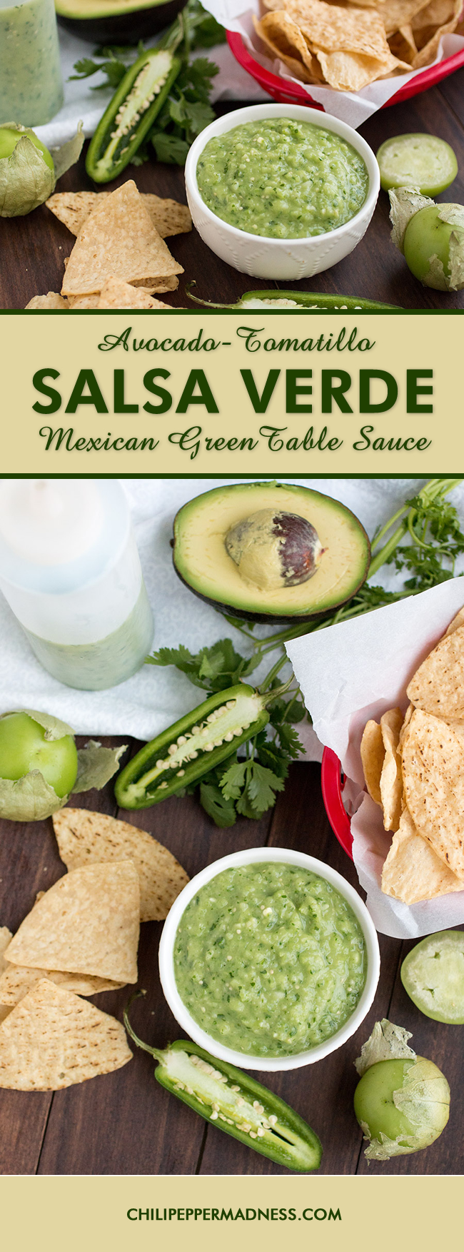 Avocado-Tomatillo Salsa Verde - Mexican Green Table Sauce - Recipe