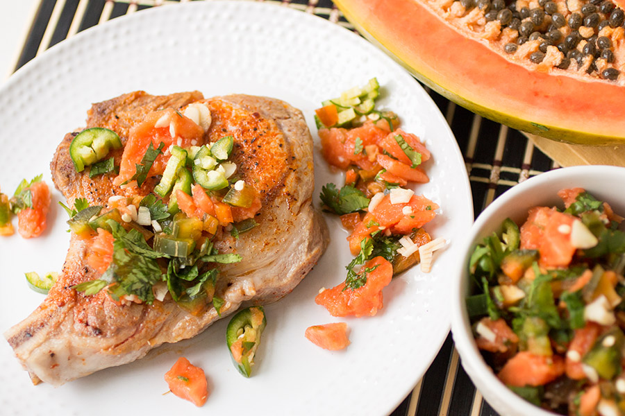 Baked Pork Chops with Papaya Salsa