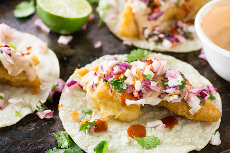 Beer Battered FishTacos with Spicy Habanero Slaw - Recipe