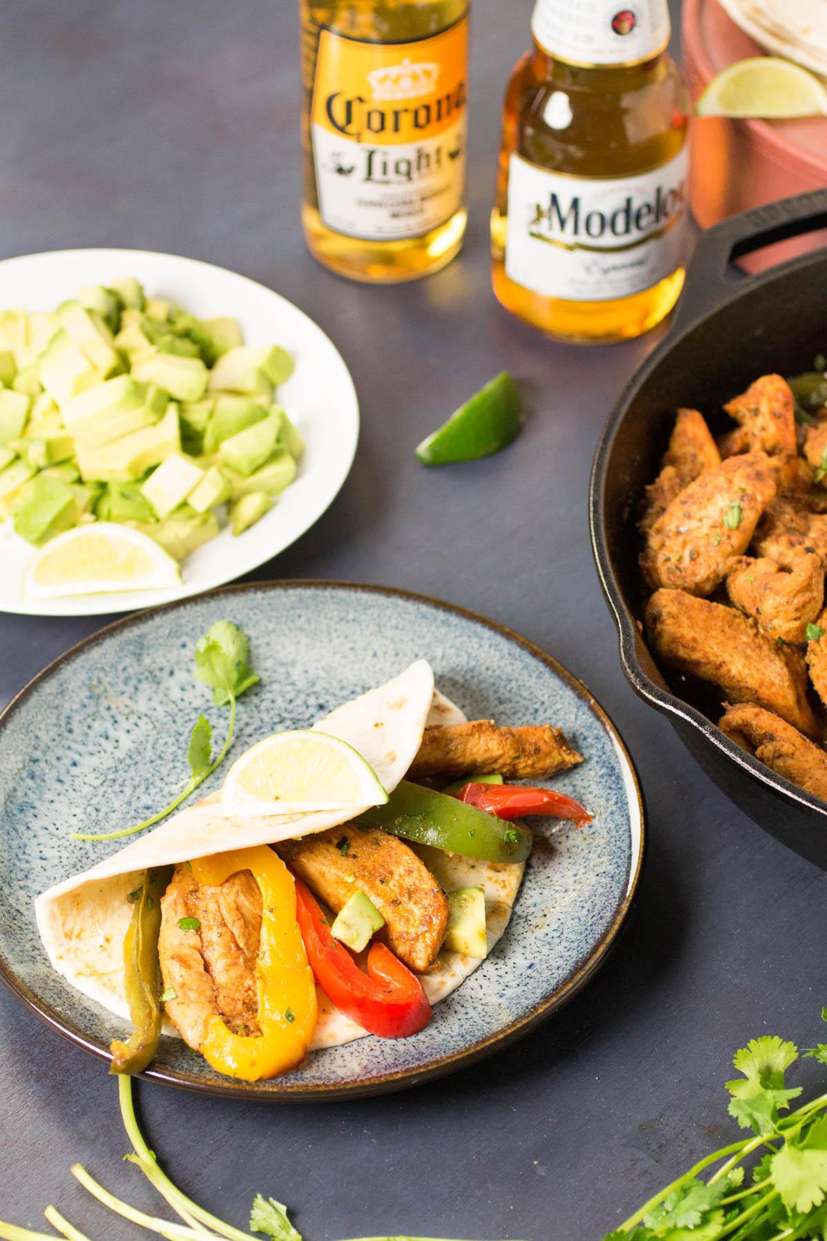 Beer Braised Chicken Fajitas - Recipe
