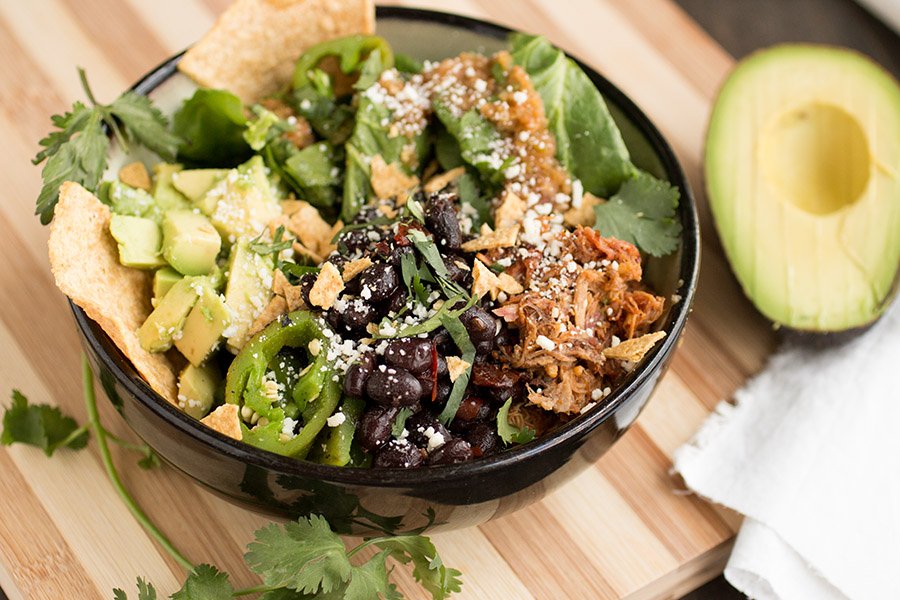 Burrito Bowls with Shredded Pork and Black Beans - Recipe