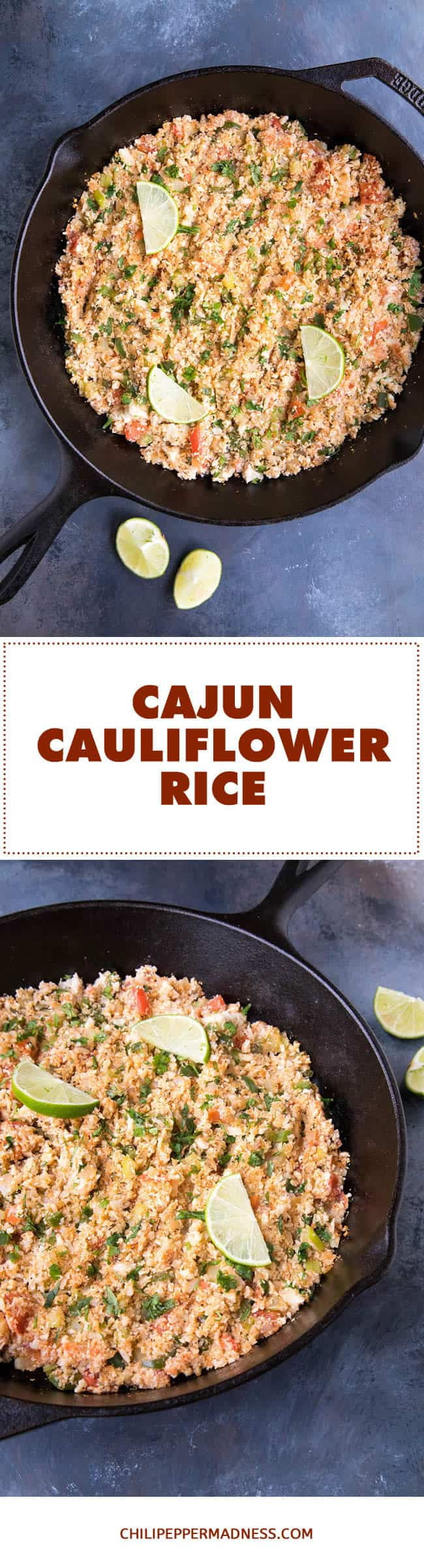 Cajun Cauliflower Rice - Recipe | ChiliPepperMadness.com #Cajun #Cauliflower #LowCarb #HealthyRecipe #LowCalorie