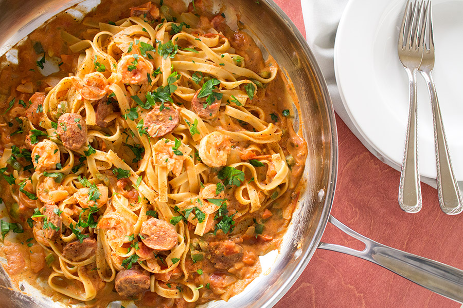 Cajun Pasta with Shrimp and Smoked Sausage - Recipe
