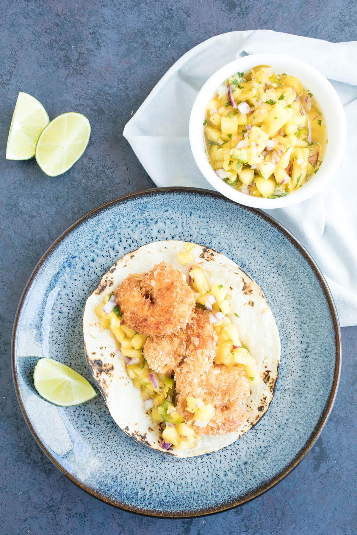 Caribbean Coconut Shrimp Tacos with Pineapple-Mango Salsa – Recipe