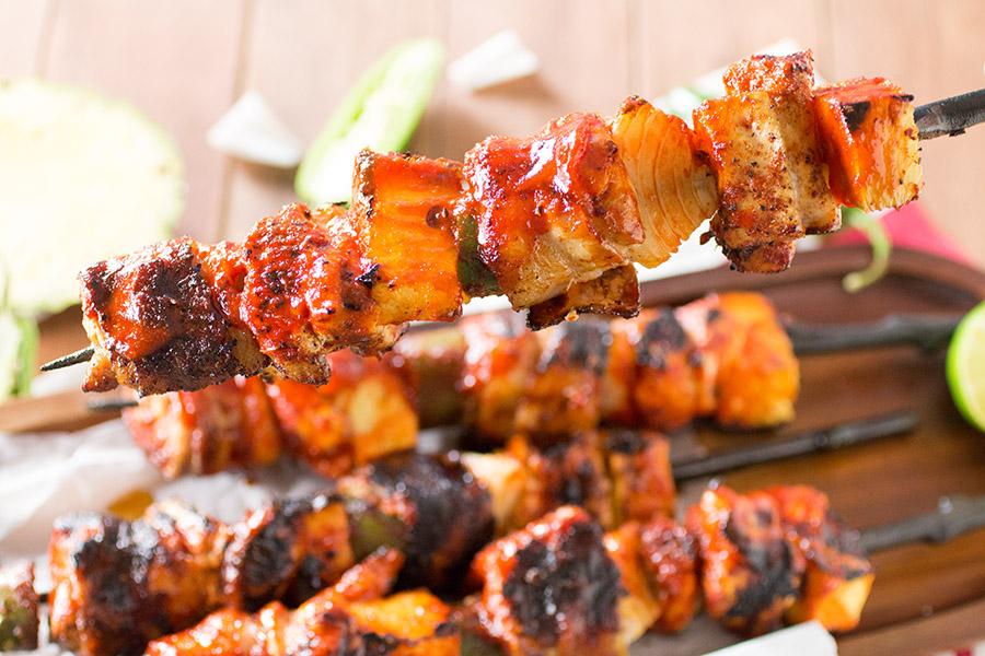 Chicken and Pork BBQ Skewers with Honey-Sriracha Glaze – Recipe