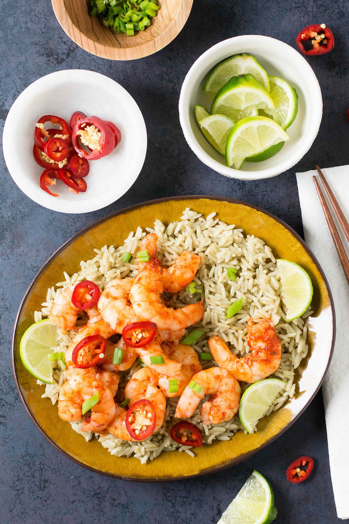 Chili-Garlic Shrimp with Thai Lime Rice - Recipe