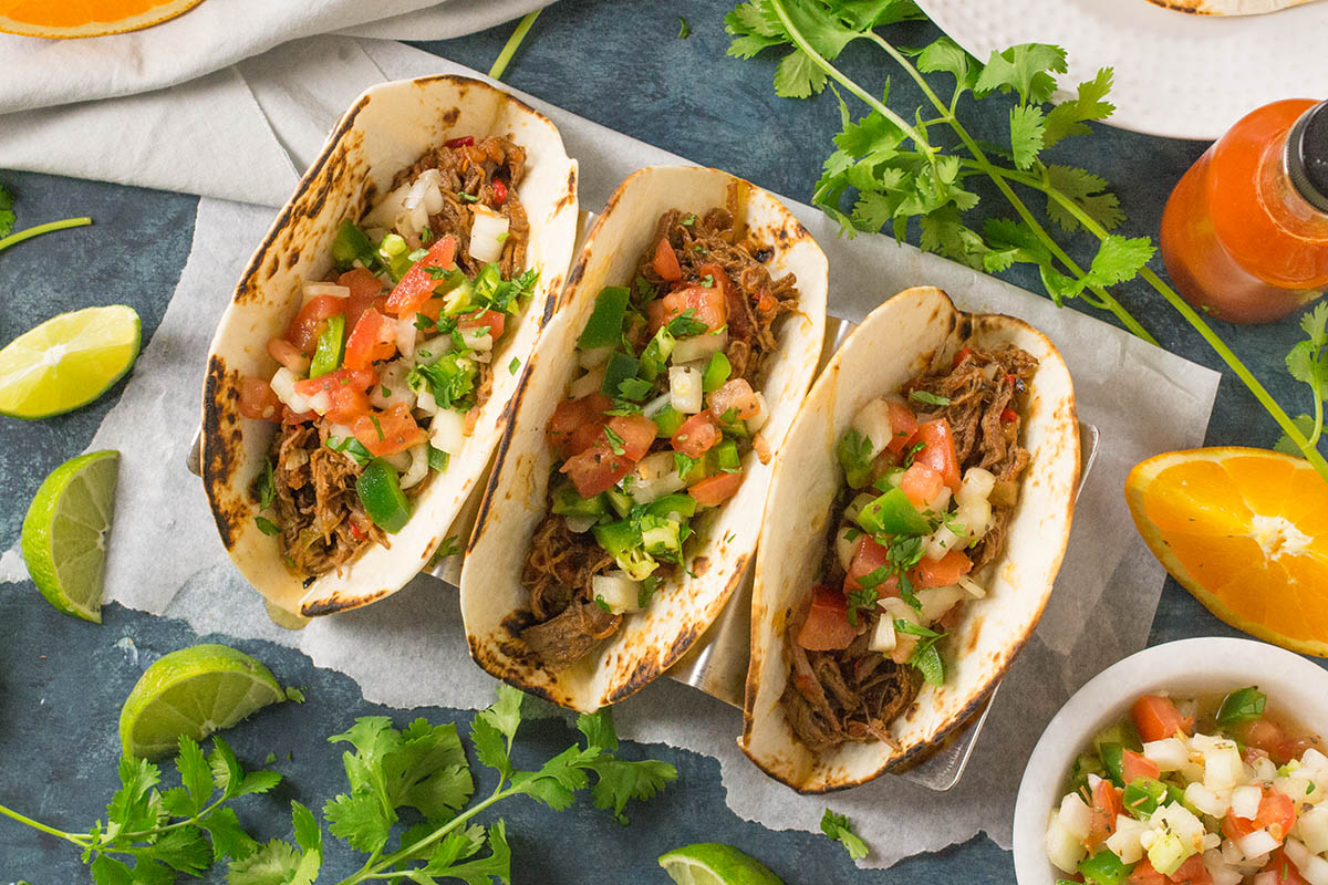 Cuban-Style Shredded Beef Tacos with Mojo Salsa – Recipe