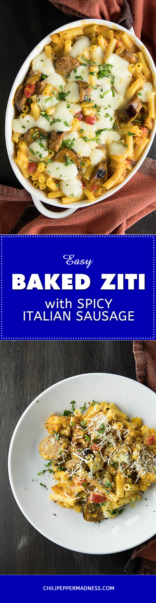 Easy Baked Ziti with Spicy Italian Sausage - Recipe