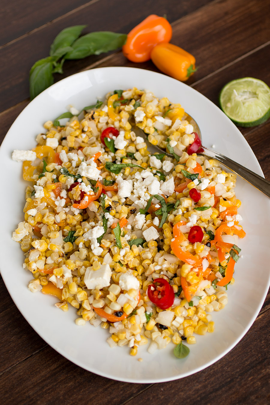 Grilled Corn Salad with Feta and Sweet Peppers