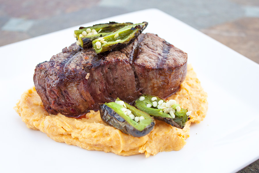 Grilled Filet Mignon Over Goat Cheese Sweet Potato Puree