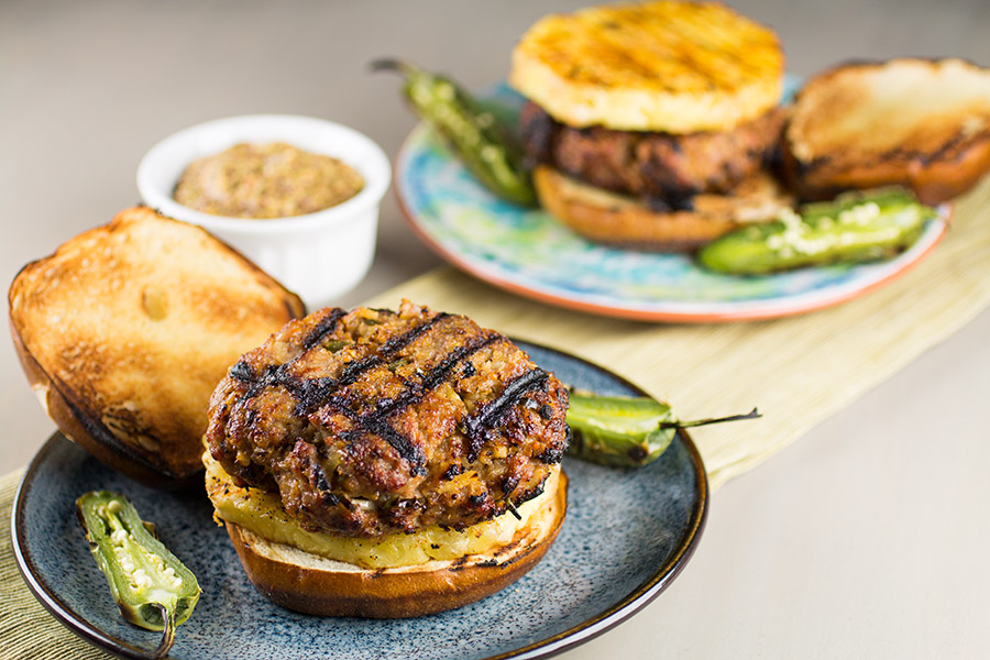 Grilled Pork Burgers with Pineapple
