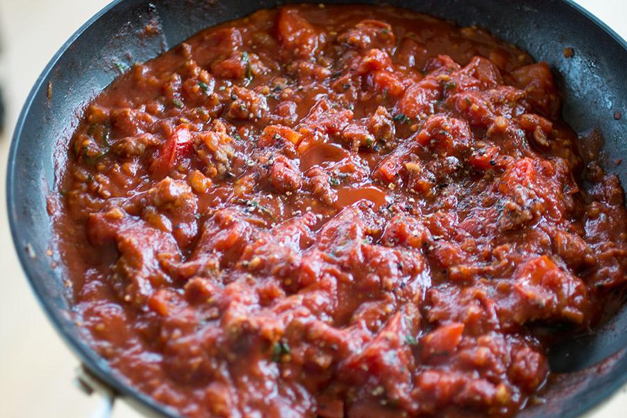 Homemade Italian Sausage-Goat Cheese Lasagna Rolls - Pasta Sauce
