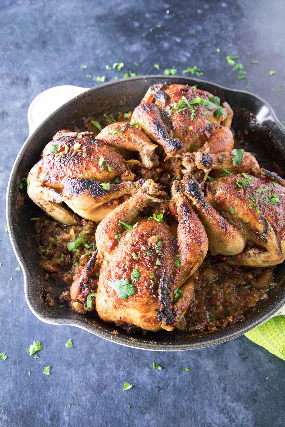 Honey-Soy Glazed Cornish Henswith Sausage-Panko Stuffing - Recipe
