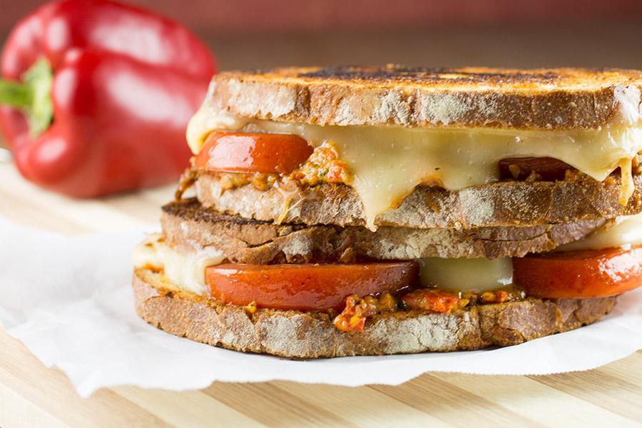 Italian Pesto and Marinated Tomato Grilled Cheese Sandwich
