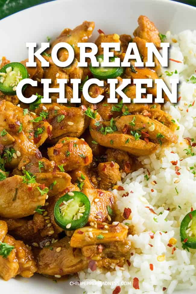 Korean Chicken Recipe - This spicy Korean chicken recipe is quick and easy, made with gochujang, sriracha, soy sauce, spicy chili flakes and more. On the table fast! Perfect served over rice. #EasyDinner #KoreanChicken