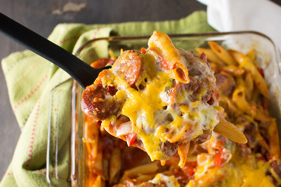 Mike's Mad Dog Mostaccioli, just out the oven, with loads of melty cheese.