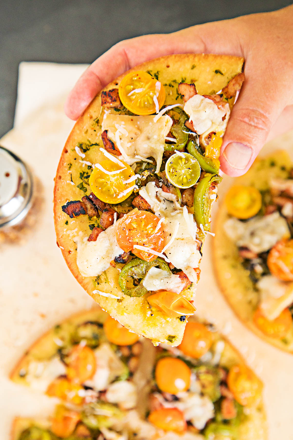 Mini Pizzas with Smoked Ham, Jalapenos and Cherry Tomatoes – Recipe