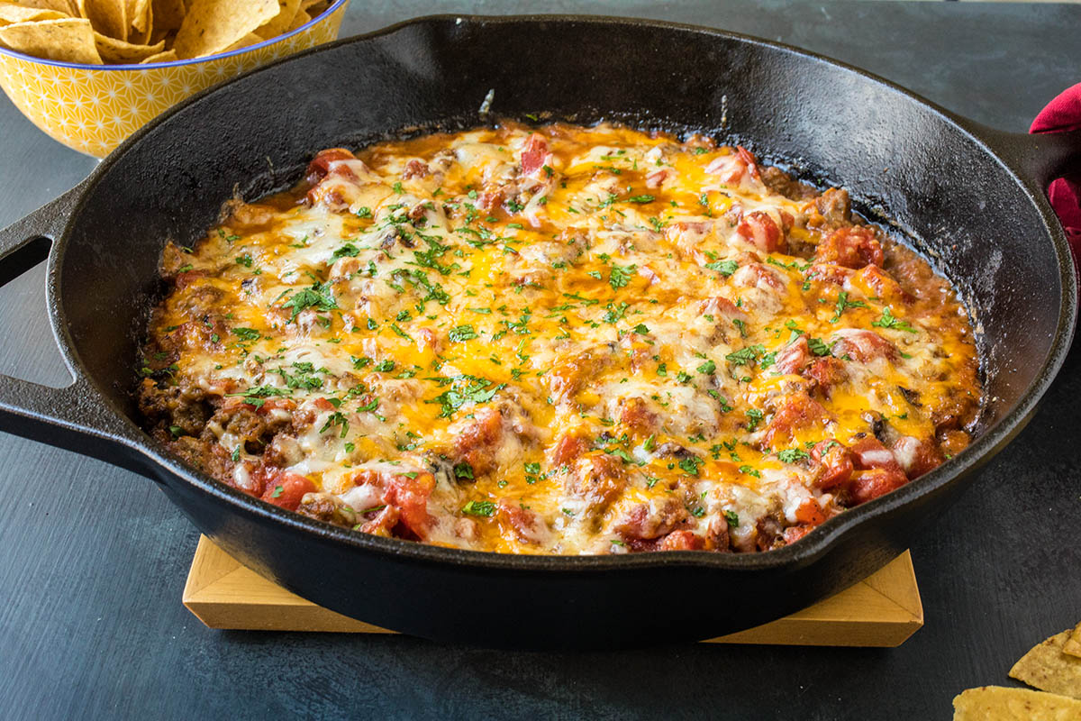 One Pan Hatch Chili-Cheese Dip - Recipe