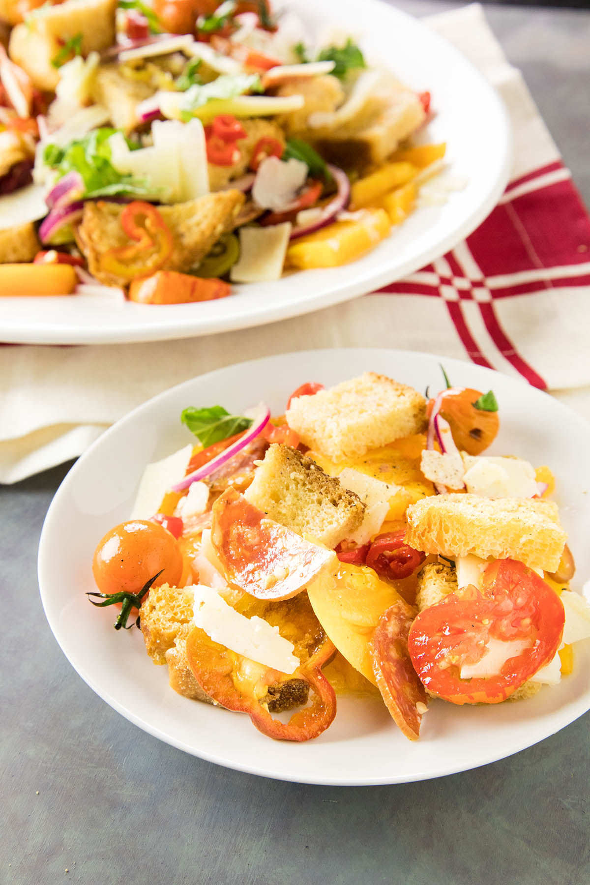 Panzanella Salad with Heirloom Tomatoes and Quick Pickled Peppers – Recipe